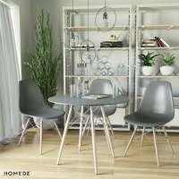 Stół z białym okrągłym czarnym blatem fi 85 cm - skośne nogi