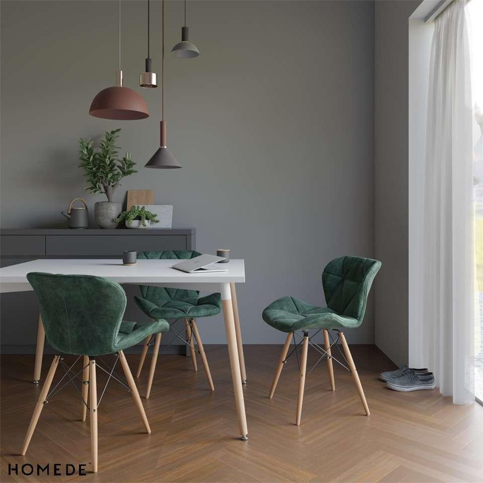 Stół z białym blatem 120x80 cm - skośne nogi