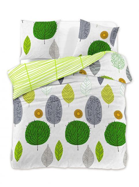 DecoKing - Pościel z bawełny 100%, biało-zielona, wzory kwiatowe, różne rozmiary