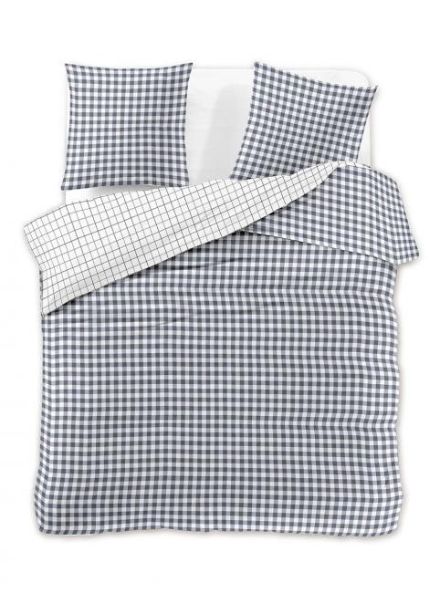 DecoKing - Pościel z bawełny 100%, szaro-biała kratka, różne wymiary