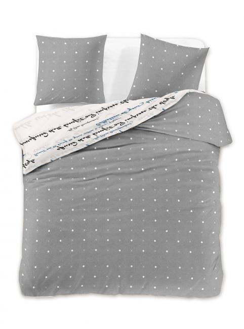 DecoKing - Pościel  z bawełny 100%, biało-szara, wzory geometrczne, różne rozmiary