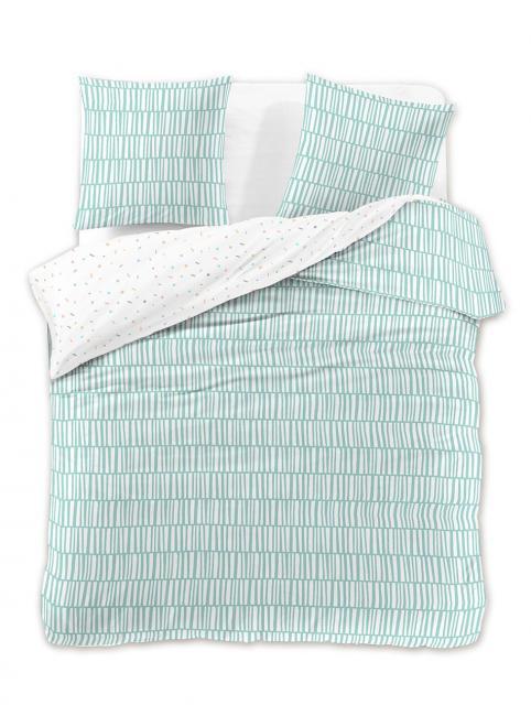 DecoKing - Pościel z bawełny 100%, biało-zielona, wzory geometryczne, różne rozmiary