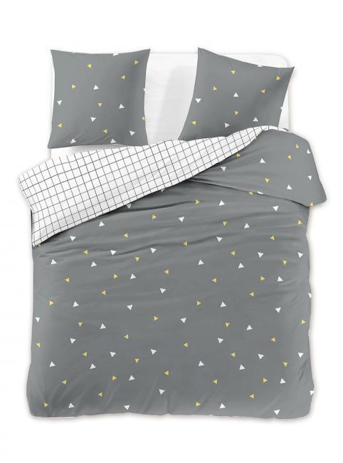 DecoKing - Pościel z bawełny 100%, biało-szara, wzory geometryczne, różne rozmiary
