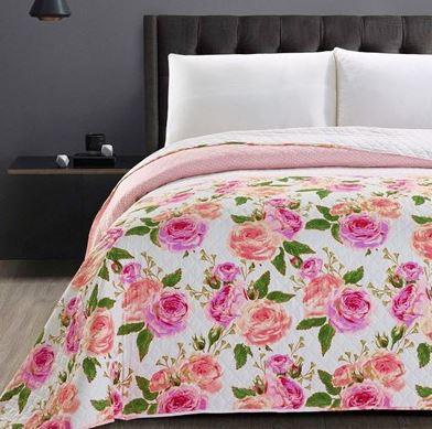 DecoKing - Narzuta dwustronna, różowe kwiaty - english rose - różne wymiary