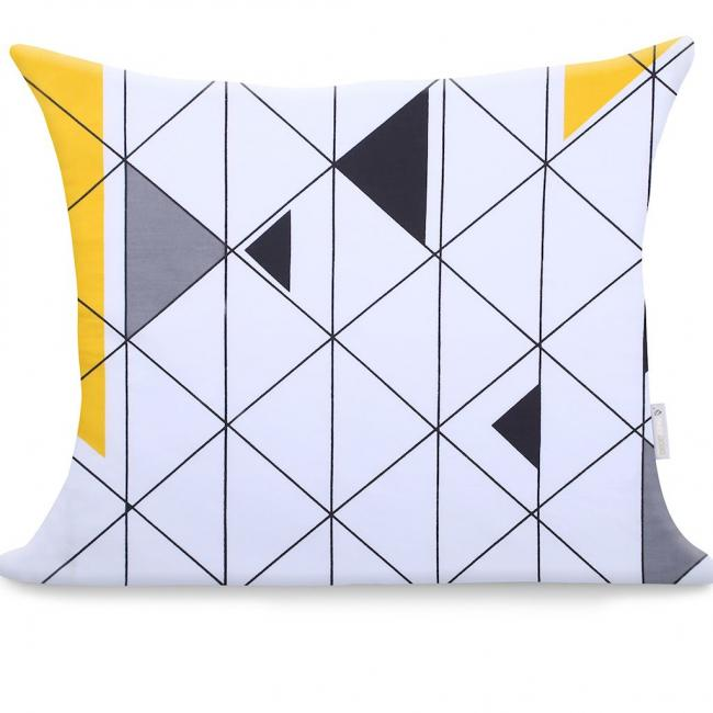 DecoKing - Poszewka z bawełny, biała we wzory geometryczne, 50x60cm - 2 sztuki