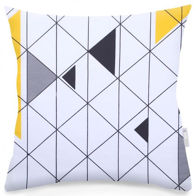 DecoKing - Poszewka z bawełny, biała we wzory, 40x40cm - 2 sztuki