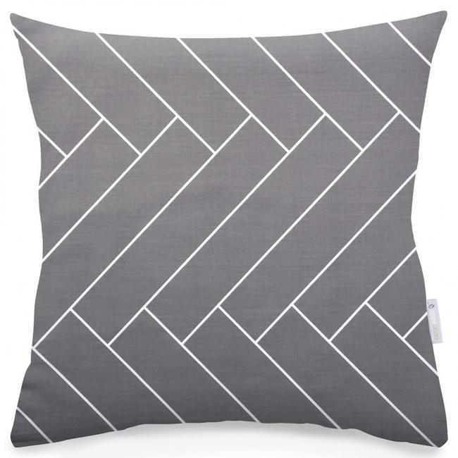 DecoKing - Poszewka  z bawełny, szara, wzór geometryczny - 2 sztuki