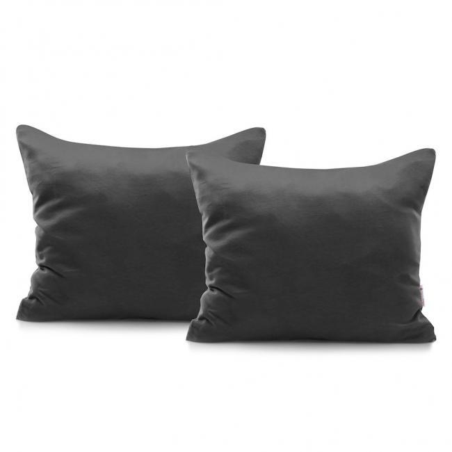 DecoKing - Poszewka  z bawełny, ciemnoszara, 50x60cm - 2 sztuki