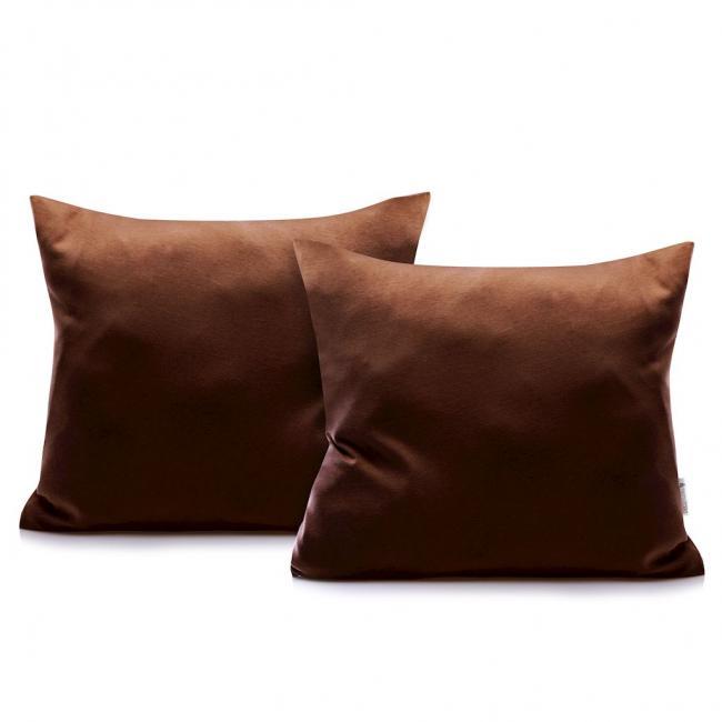 DecoKing - Poszewka  z bawełny, brązowa, 40x40 - 2 sztuki