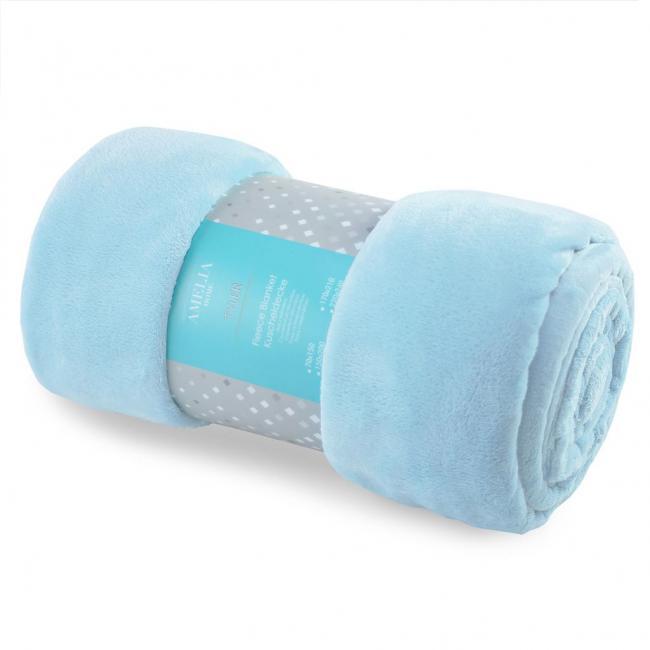 AmeliaHome - Koc z mikrofibry, niebieski - różne rozmiary