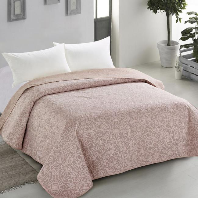 Amelia Home - Narzuta dwustronna, beżowo-różowa, ornament