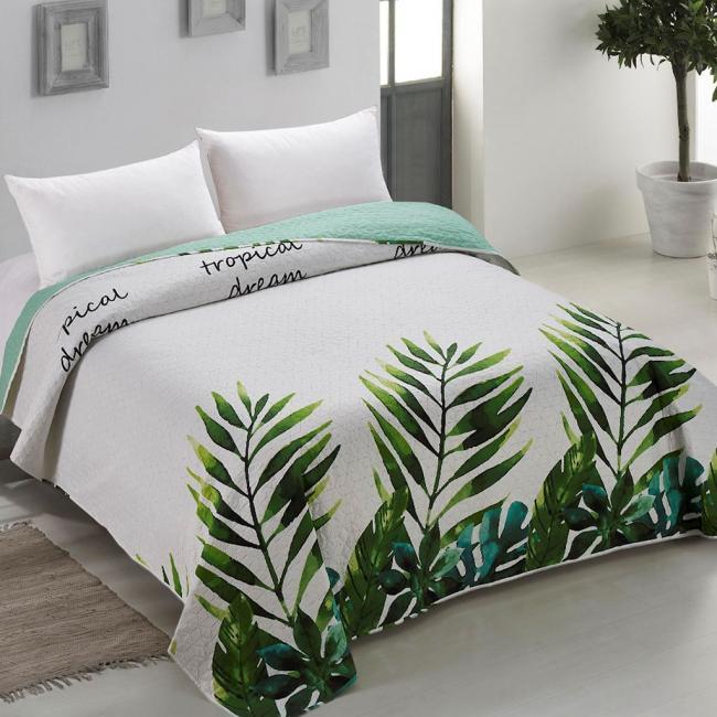 Amelia Home - Narzuta dwustronna biało-zielona rośliny tropikalne