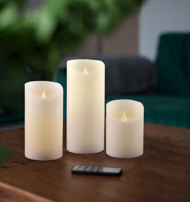 Świeczka LED, parafina - zestaw 3 szt