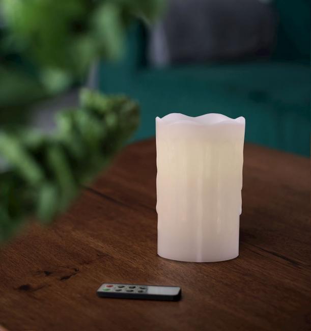 DecoKing - Świeczka LED z pilotem, parafina - 12,5 cm