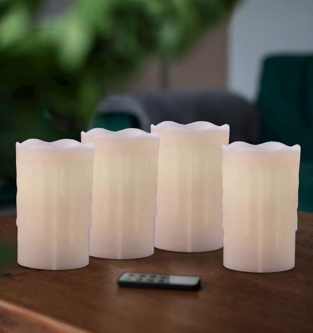 DecoKing - Świeczka LED, parafina, zestaw 4 sztuk z pilotem