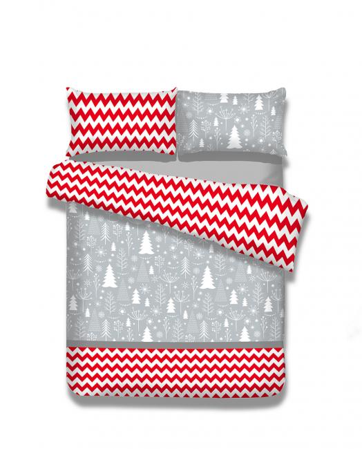 Amelia Home - Pościel  flanelowa, szaro-czerwona, wzory świąteczne - różne rozmiary