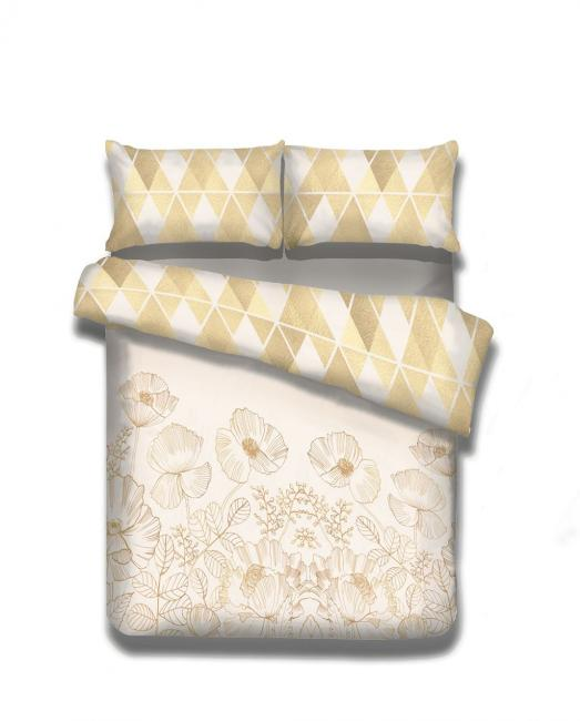 Amelia Home - Pościel  flanelowa biało-beżowa, wzory kwiatowe, różne rozmiary