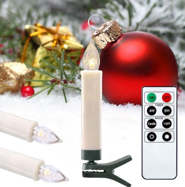 DecoKing - Bezprzewodowe świeczki LED na choinkę, zestaw 10 sztuk z pilotem