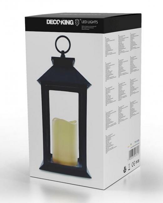 DecoKing - Szklany lampion ze świeczką LED