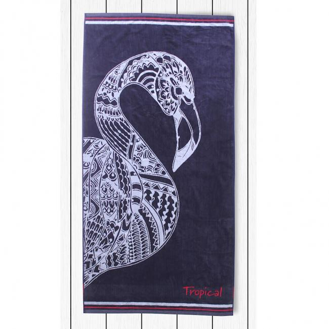 DecoKing - Ręcznik plażowy  90x180 cm - NAVY FLAMINGO