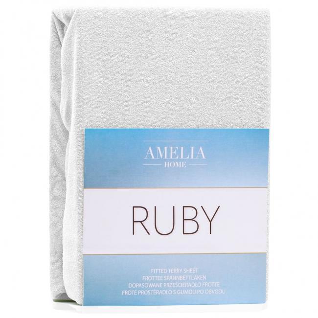 Amelia Home - Prześcieradło frotte, z gumką, biały, różne rozmiary
