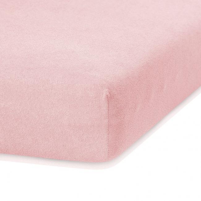 Amelia Home - Prześcieradło frotte, z gumką, różowy, różne rozmiary