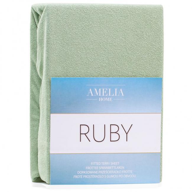 Amelia Home - Prześcieradło frotte, z gumką, zielony, różne rozmiary
