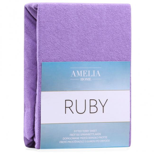 Amelia Home - Prześcieradło frotte, z gumką, fioletowy, różne rozmiary