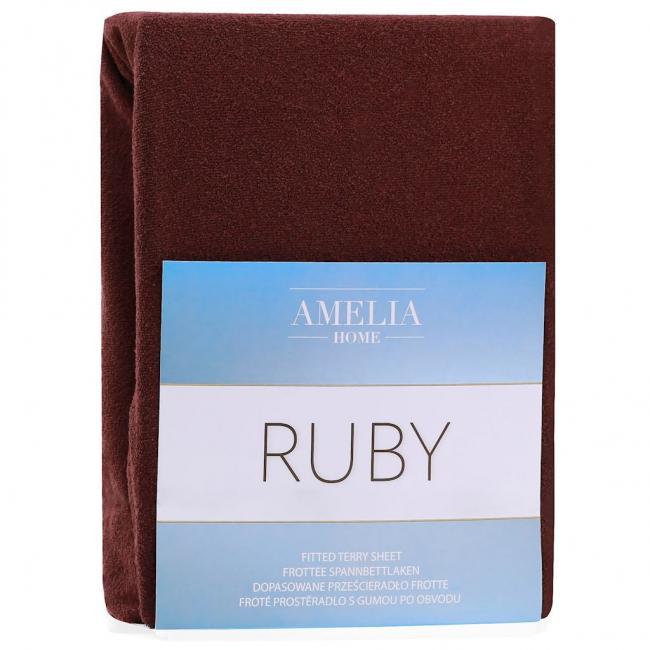 Amelia Home - Prześcieradło frotte, z gumką, brązowy, różne rozmiary