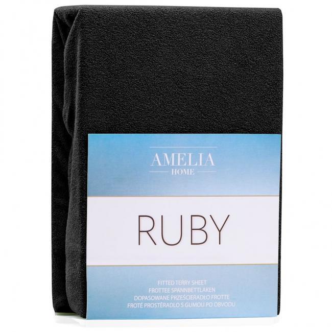 Amelia Home - Prześcieradło frotte, z gumką, czarny, różne rozmiary