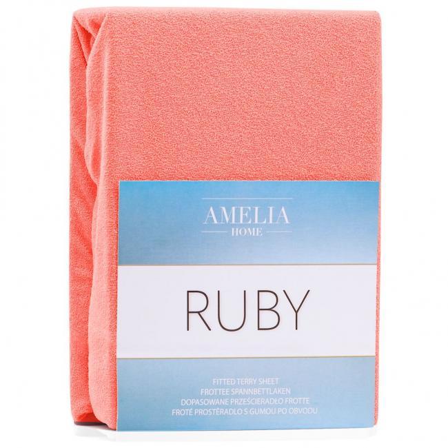 Amelia Home - Prześcieradło frotte, z gumką, czerwony, różne rozmiary