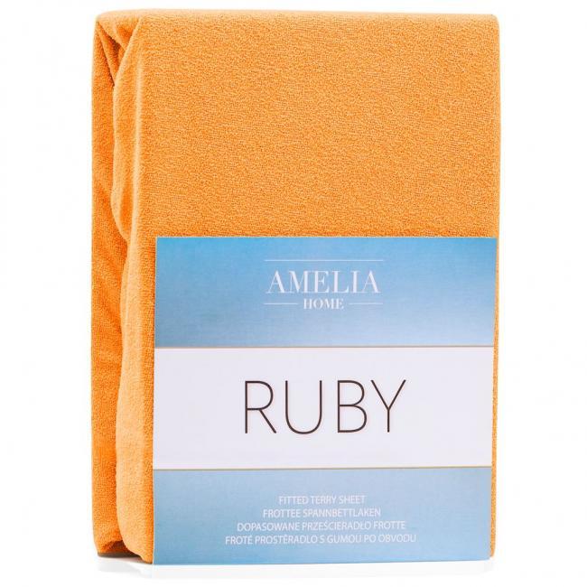 Amelia Home - Prześcieradło frotte, z gumką, pomarańczowe, różne rozmiary