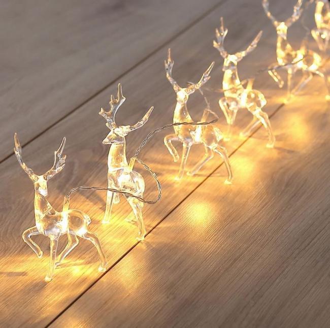 Lampki LED z osłonkami w kształcie reniferów