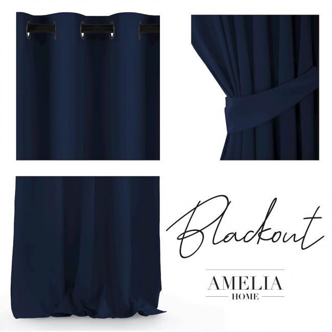 Amelia Home  - Zasłona ciemnoniebieska 140x245 cm z przelotkami - ciemnoniebieska