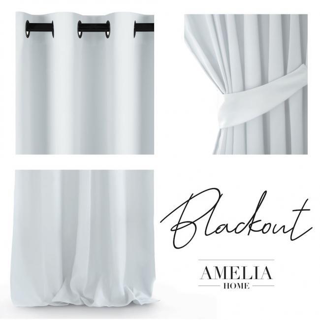 Amelia Home  - Zasłona biała 140x245 cm z przelotkami