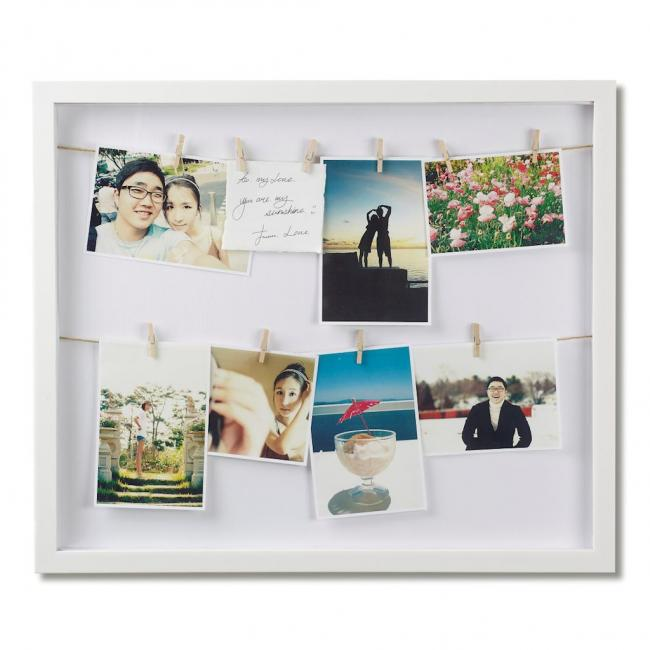 Ramka na zdjęcia ze sznurkiem  - biała