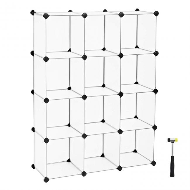 Garderoba z plastikowych elementów, 113 x 36 x 113 cm, biała półprzezroczysta
