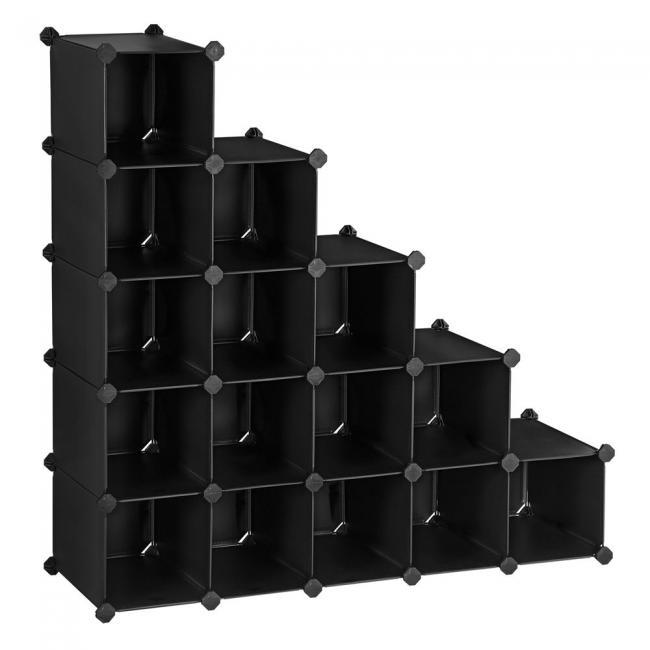 Garderoba z plastikowych elementów, 113 x 36 x 113 cm, czarna z nadrukiem