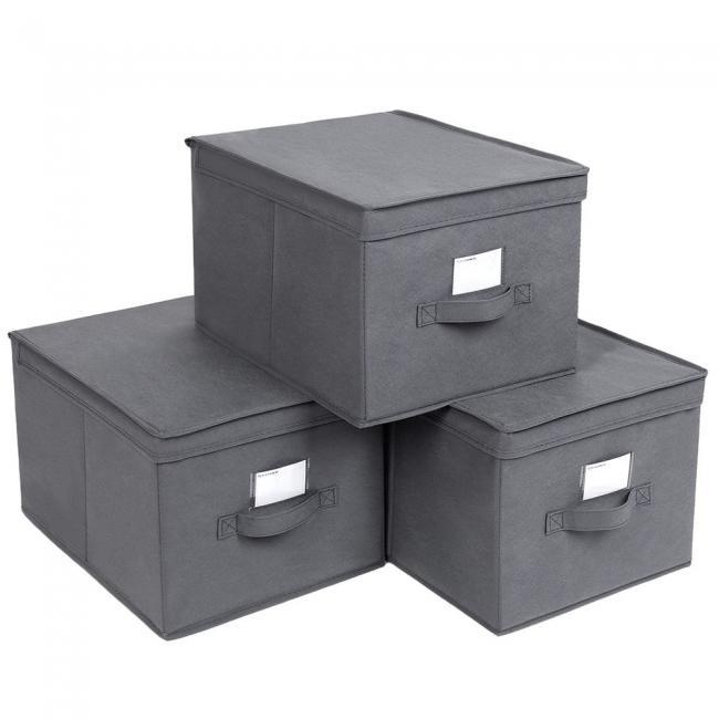 Pudła do przechowywania - 3 części, szare
