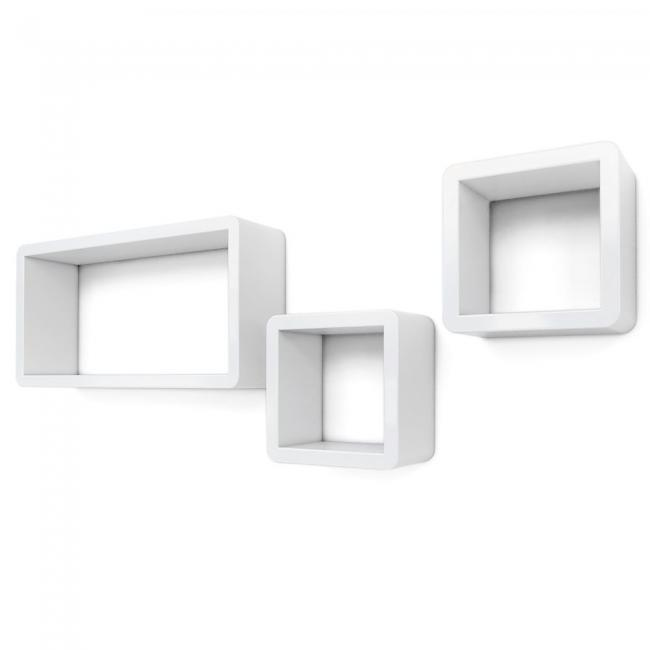 Półki - kostki z MDF  3 sztuki, białe