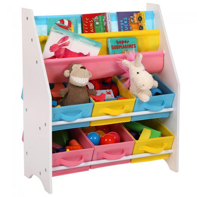 Stojak z pojemnikami na zabawki