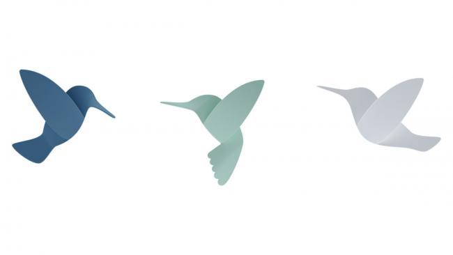 Dekoracje ścienne 3D - kolibry - 9 sztuk