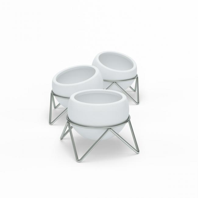 Doniczki na stojaku - 3 sztuki