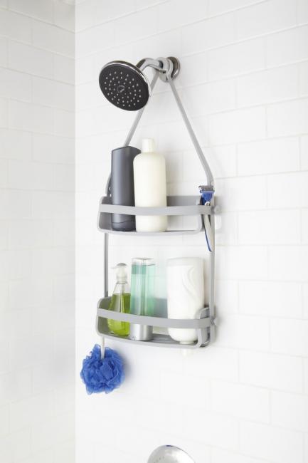 Podwójna półka do prysznica, szara
