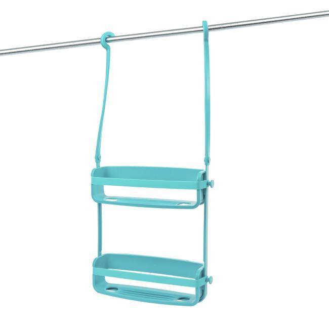 Podwójna półka łazienkowa do prysznica, niebieska