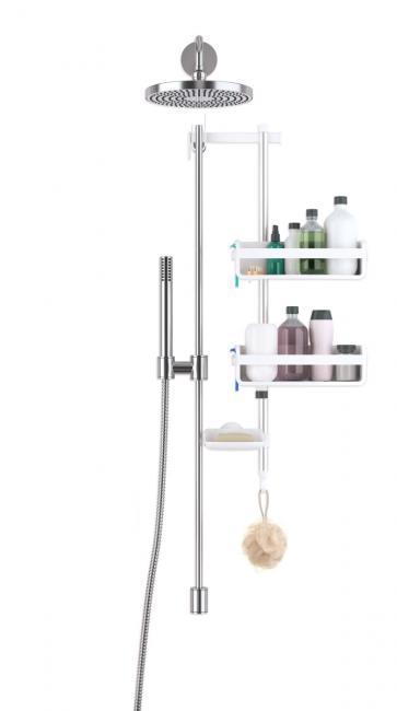 Półka łazienkowa pod prysznic, biała
