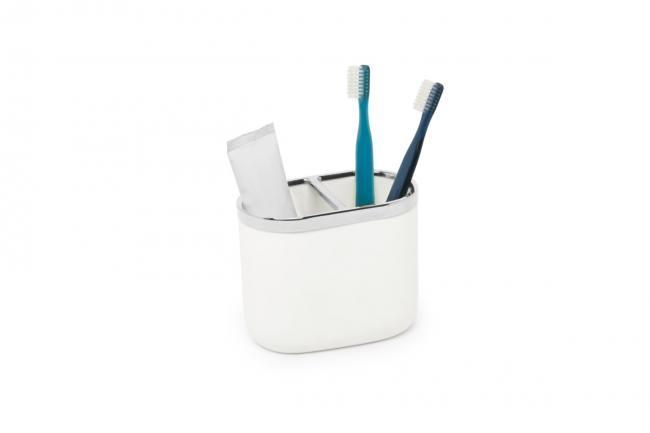 Dwukomorowy kubeczek na szczoteczki do zębów, biały