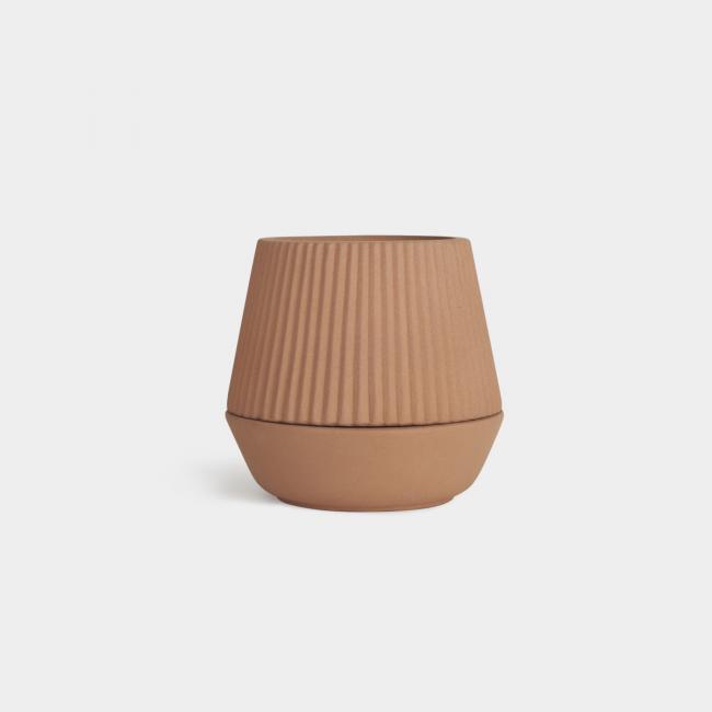 Ceramiczna Doniczka Stojąca Brązowa PLEATED