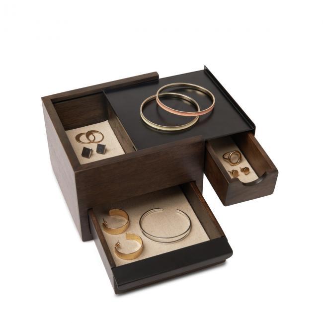 Stylowe Pudełko na biżuterię Małe STOWIT- Ciemnobrązowe