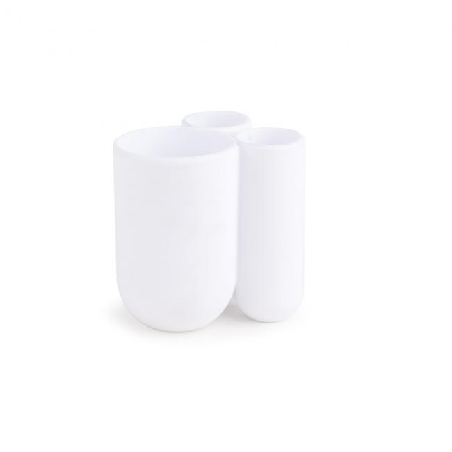 Trzykomorowy Pojemnik na szczoteczki do zębów Biały TOUCH